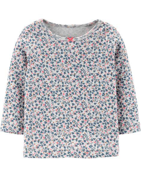 Ensemble 3 pièces t-shirt fleuri et robe chasuble en denim