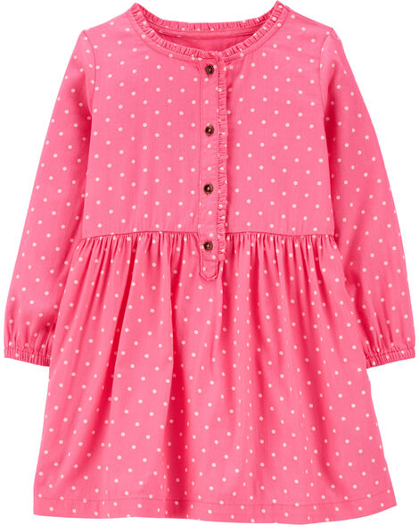 Polka Dot Ruffle Placket Dress
