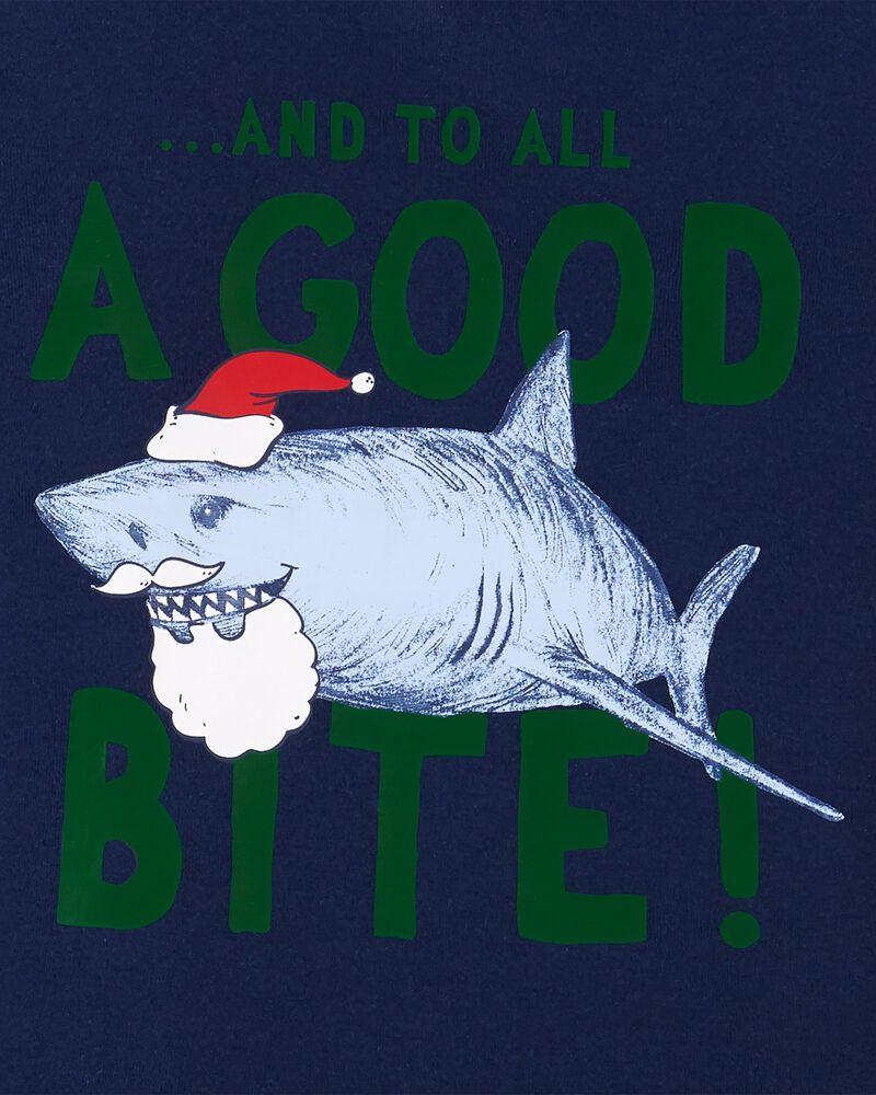 2-Piece Holiday Shark 100% Snug Fit Cotton & Fleece PJs, , hi-res