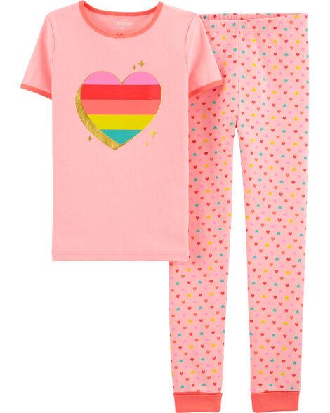 Pyjama 4 pièces en coton ajusté à cœur arc-en-ciel