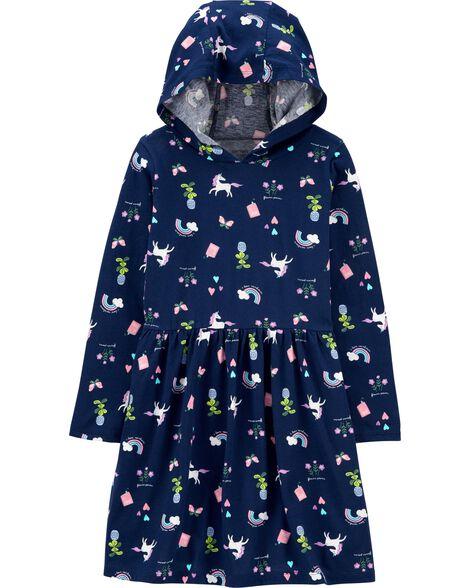 Robe à capuchon en jersey à licorne