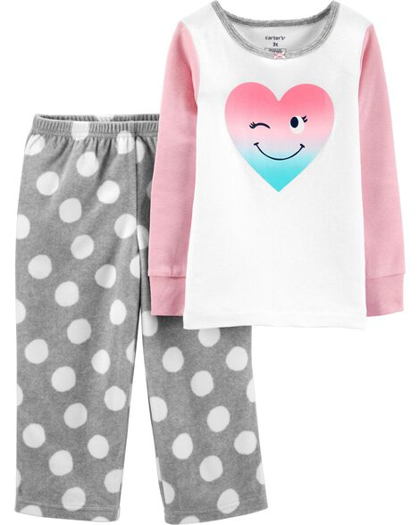 2-Piece Heart Snug Fit Cotton & Fleece PJs