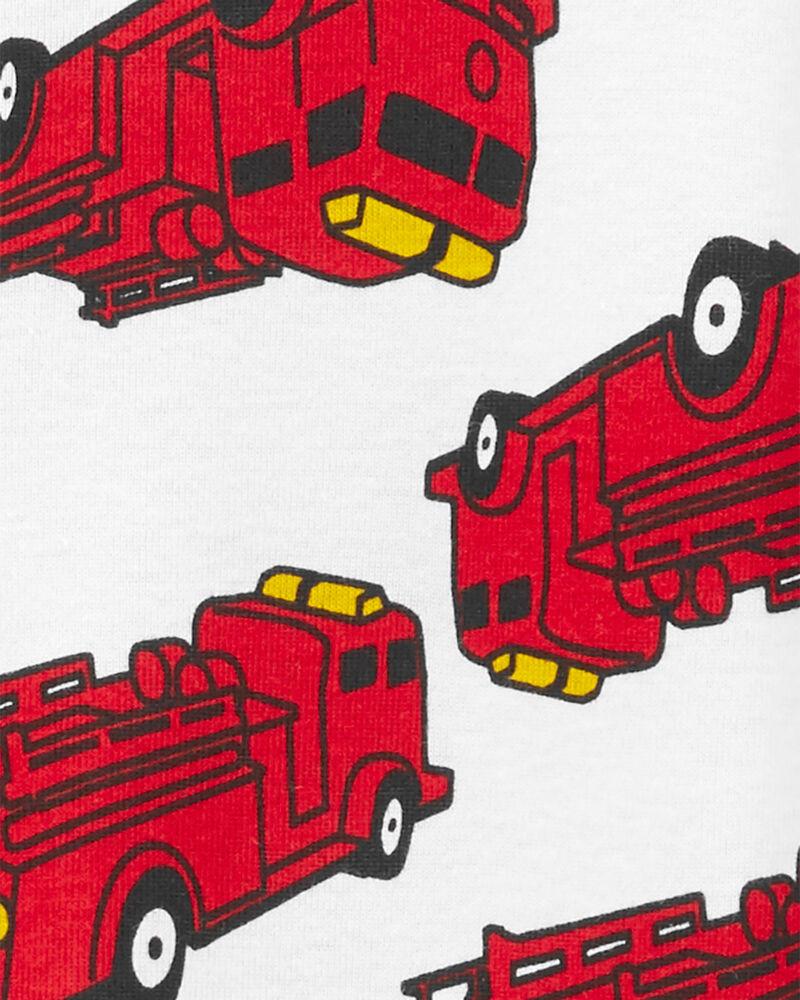 Pyjama 1 pièce à pieds en coton ajusté à camion d'incendie, , hi-res
