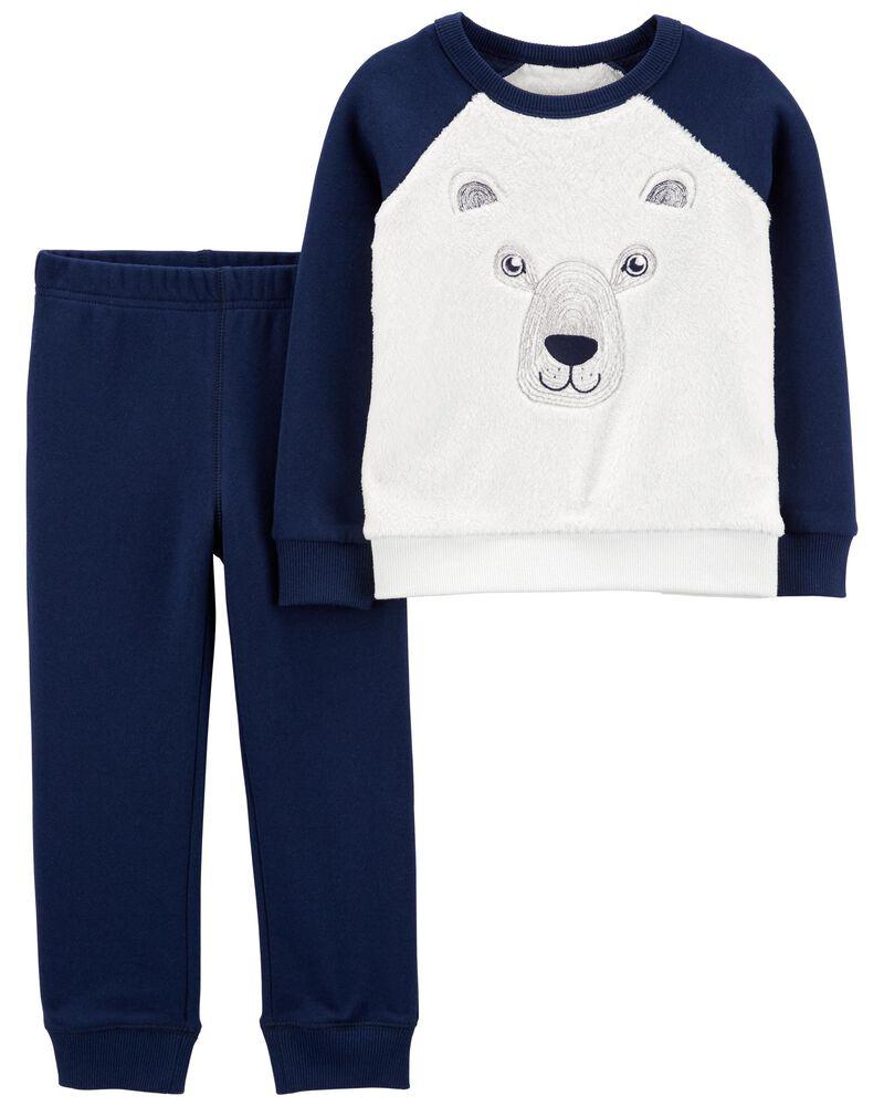 2-Piece Bear Fuzzy Pullover & Jogger Set, , hi-res