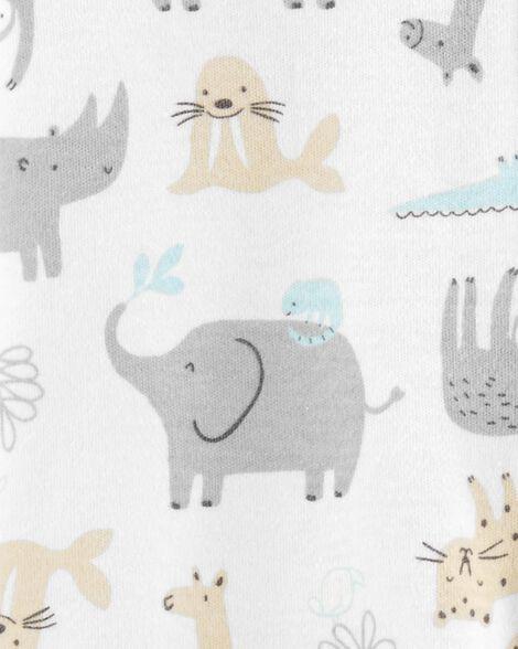 Grenouillère en coton à glissière avec animaux du safari