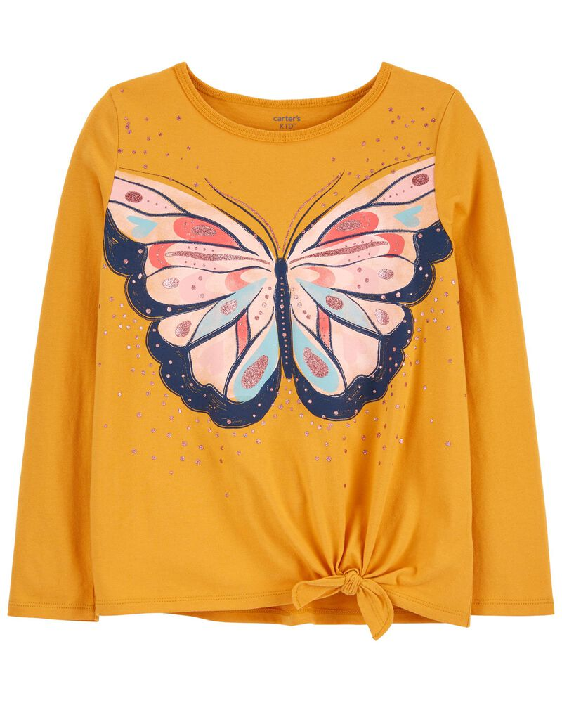 Butterfly Tie-Front Jersey Tee, , hi-res