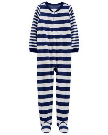 1-Piece Rugby Striped Fleece Footie...