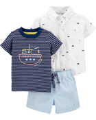 3-Piece Submarine Little Short Set, , hi-res