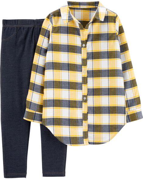 2-Piece Plaid Flannel Top & Jegging Set
