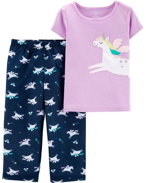 2-Piece Unicorn Cotton & Poly PJs