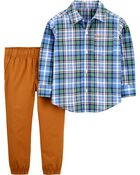 2-Piece Plaid Button-Front Shirt & Pant Set, , hi-res
