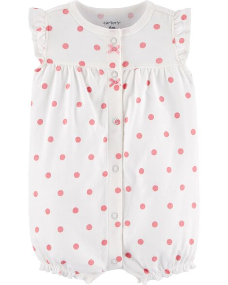 Polka Dot Snap-Up Romper