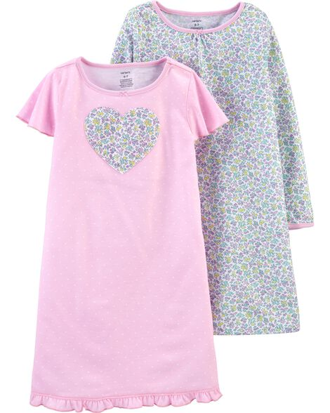 2-Pack Floral Heart Nightgowns
