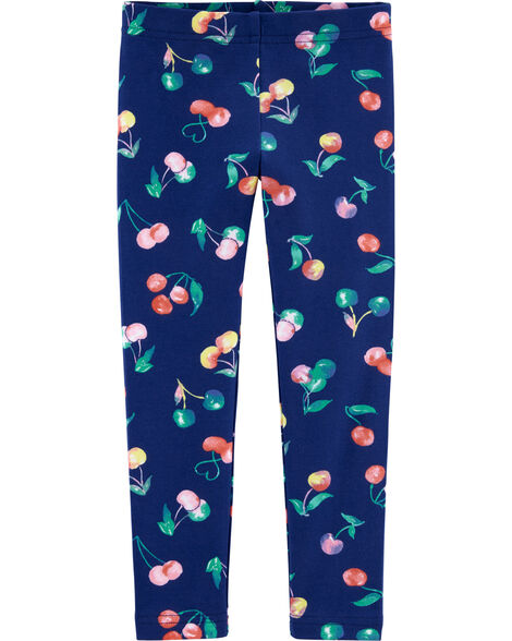 Cherry Print Jersey Leggings