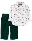 Ensemble 2 pièces chemise à motif des fêtes et pantalon, , hi-res
