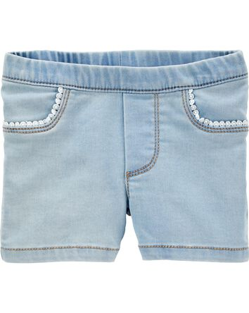 Short en denim à franges