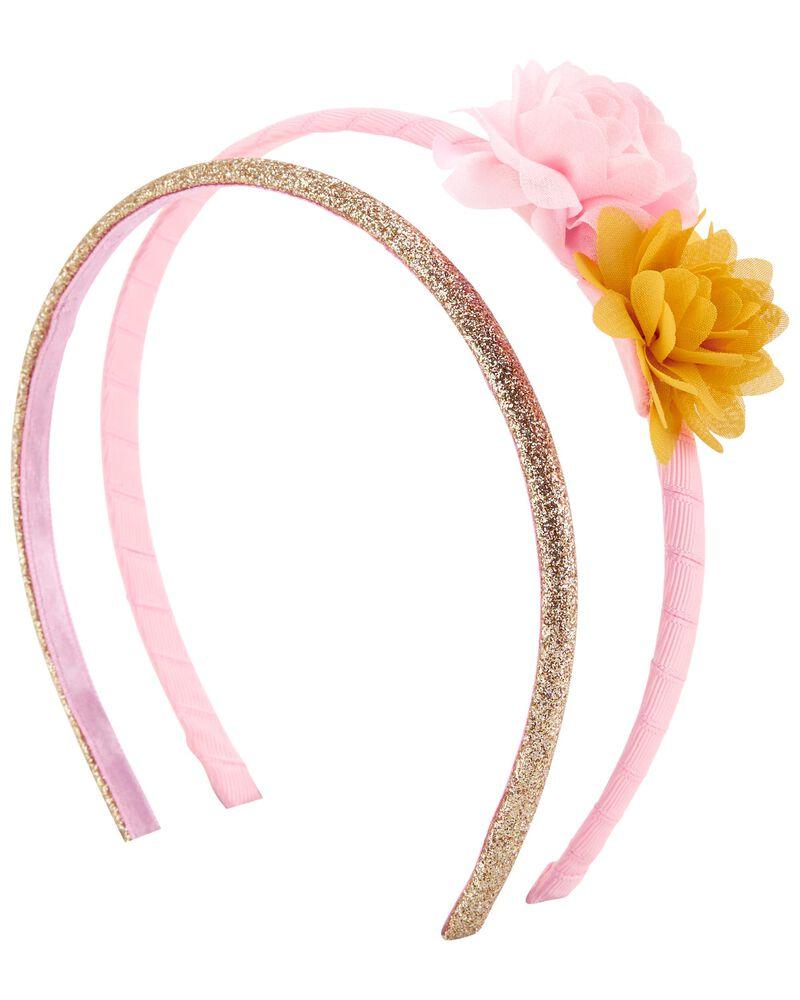 Lot de 2 bandeaux scintillants avec fleurs en chiffon, , hi-res