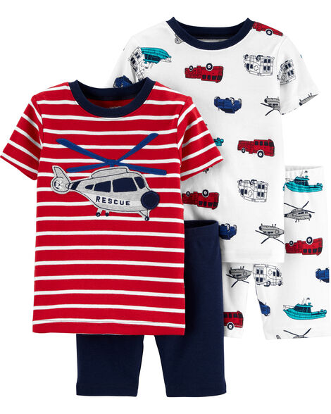 4-Piece Helicopter Snug Fit Cotton PJs