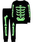 2-Piece Glow Skeleton 100% Snug Fit Cotton PJs, , hi-res