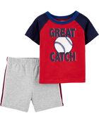 Ensemble 2 pièces t-shirt en jersey baseball et short en jersey bouclette, , hi-res