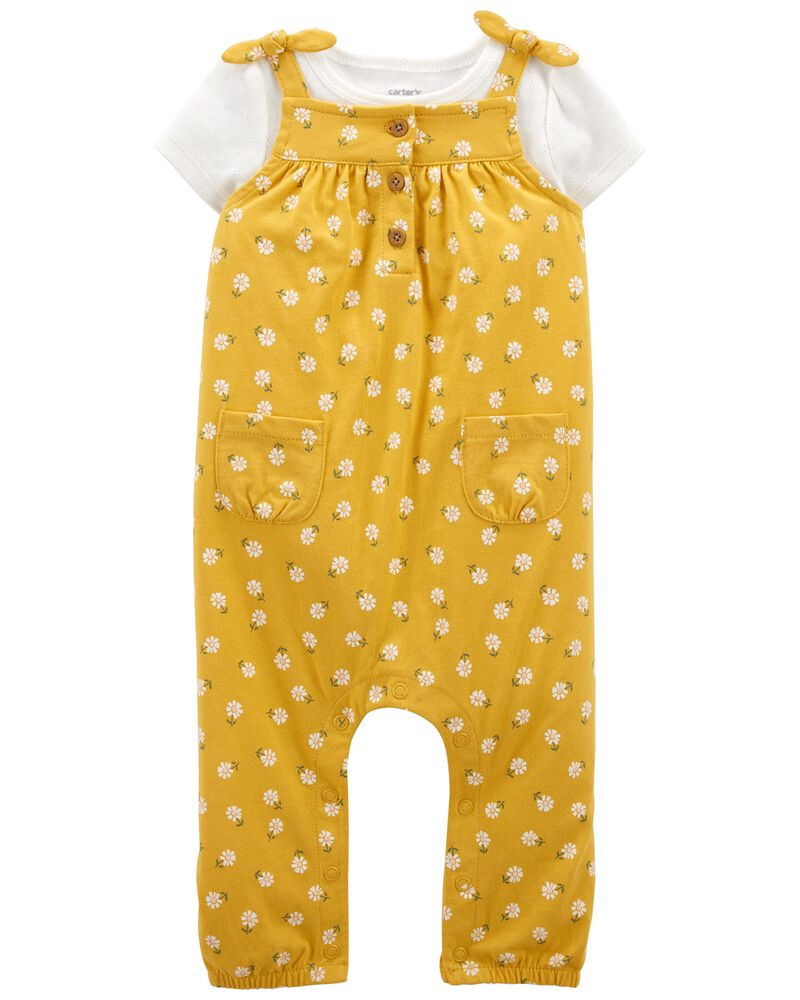 2-Piece Tee & Floral Overall Set, , hi-res
