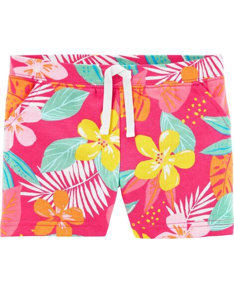 Short à enfiler en jersey bouclette à motif tropical