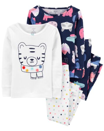 Pyjamas 4 pièces en coton ajusté