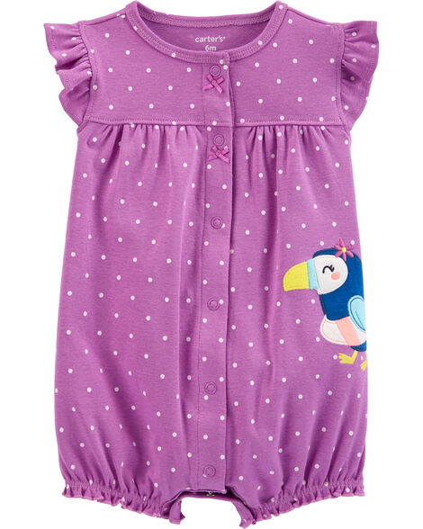 Polka Dot Toucan Snap-Up Romper