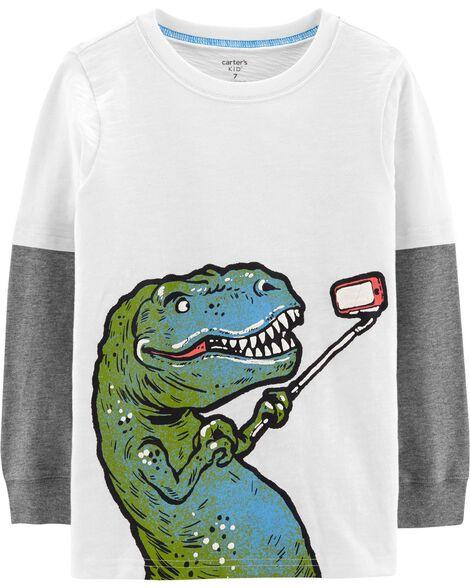 Selfie Dino Layered-Look Tee