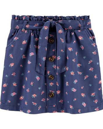 Floral Ruffle Waist Skirt