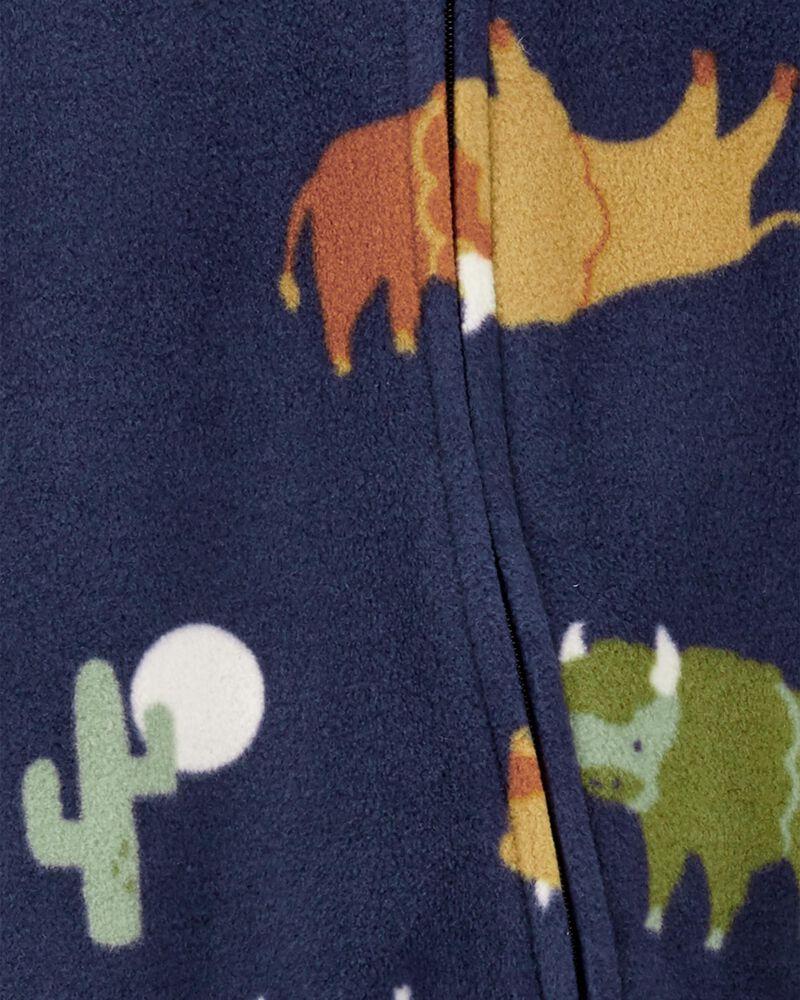 Grenouillère en molleton à glissière motif carreaux buffalo, , hi-res