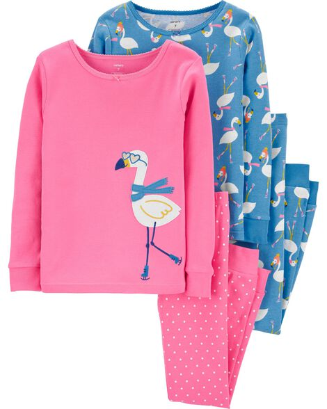 4-Piece Flamingo Snug Fit Cotton PJs