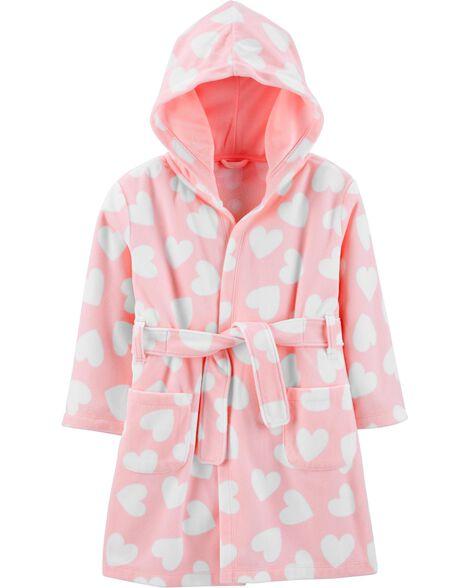 Heart Hooded Fleece Robe