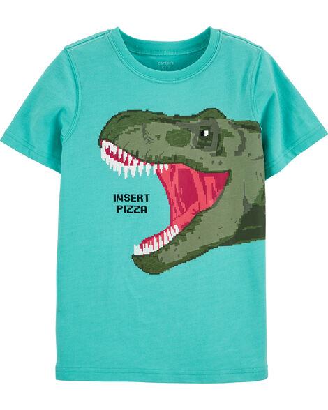 T-shirt en jersey à pizza et dinosaure qui brillent dans le noir