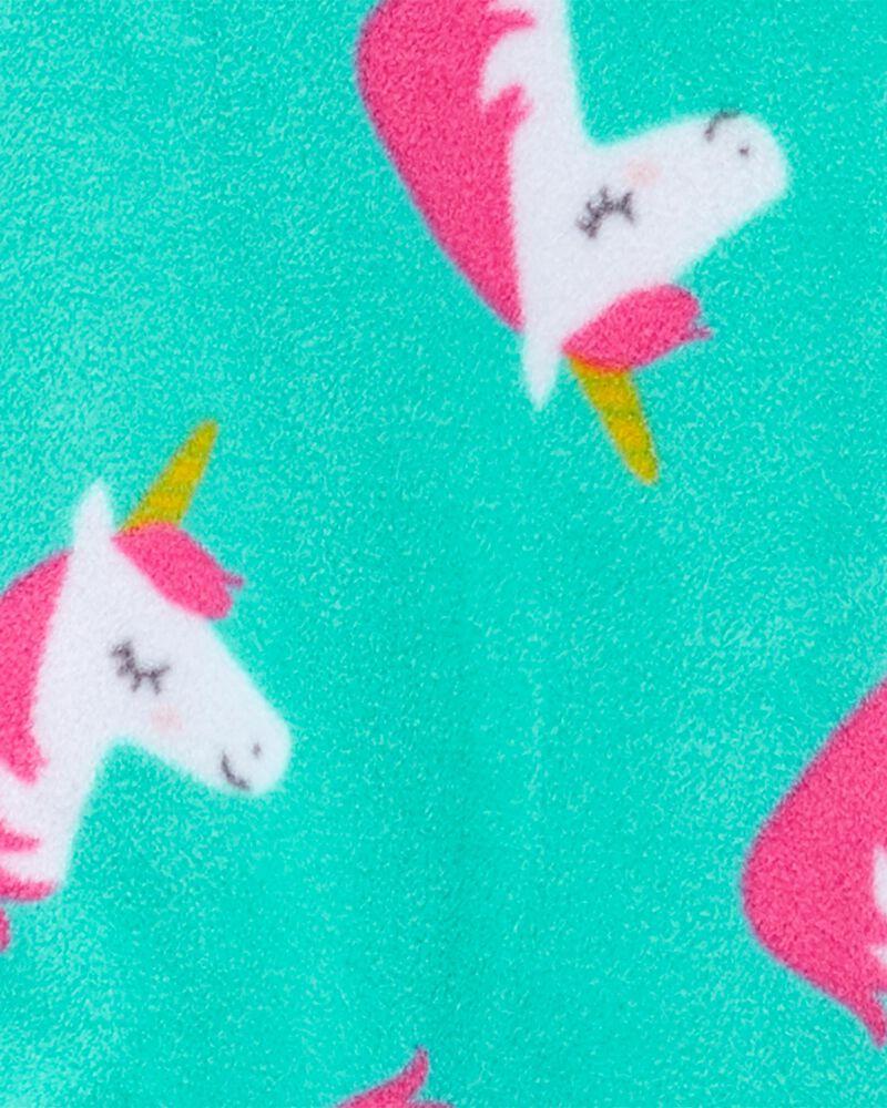 Pyjama 1 pièce à pieds en molleton motif licorne, , hi-res