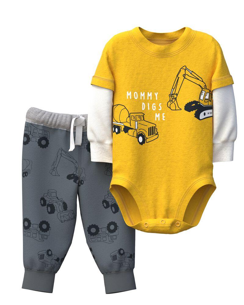 2-Piece Construction Bodysuit Pant Set, , hi-res