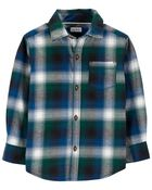 Chemise boutonnée en sergé à motif écossais, , hi-res