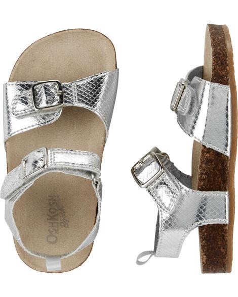 Sandales d'allure métallique avec fausses boucles