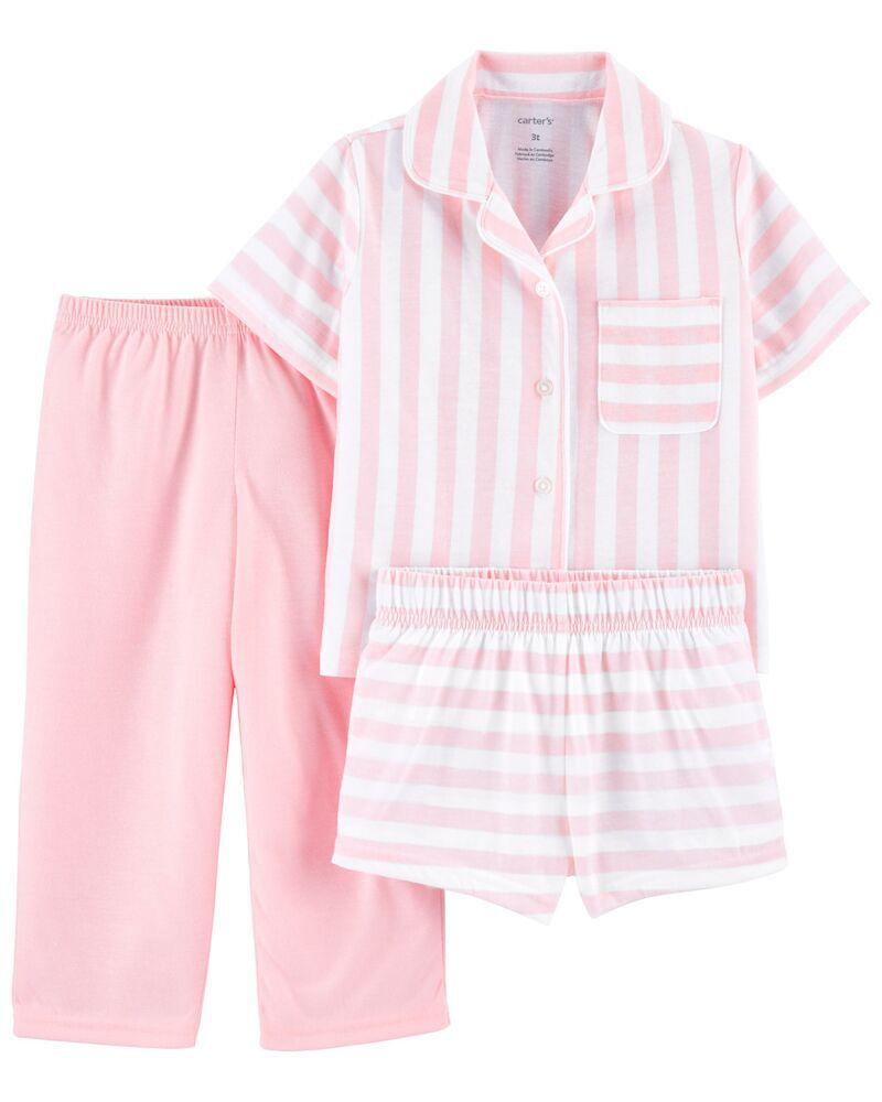 3-Piece Coat-Style Loose Fit PJs, , hi-res