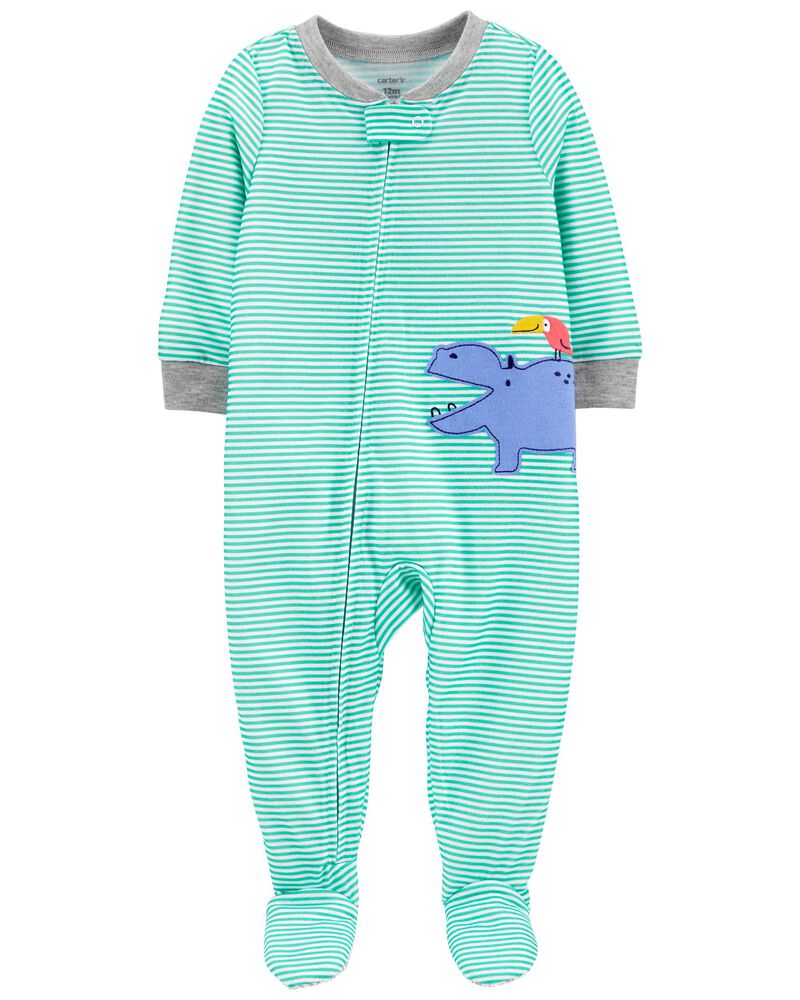 1-Piece Hippo Loose Fit Footie PJs, , hi-res