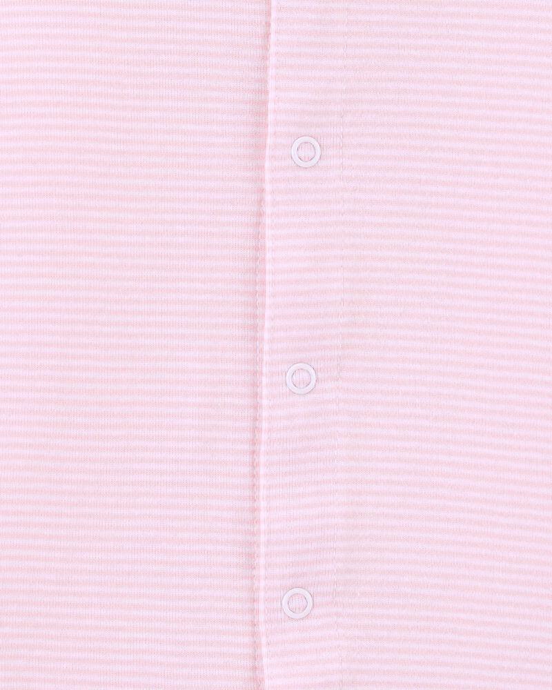Striped Snap-Up Cotton Romper, , hi-res