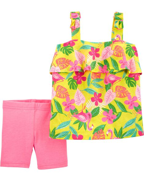 2-Piece Tropical Tank & Neon Playground Short Set