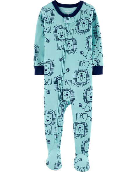 1-Piece Lion Snug Fit Cotton Footie PJs