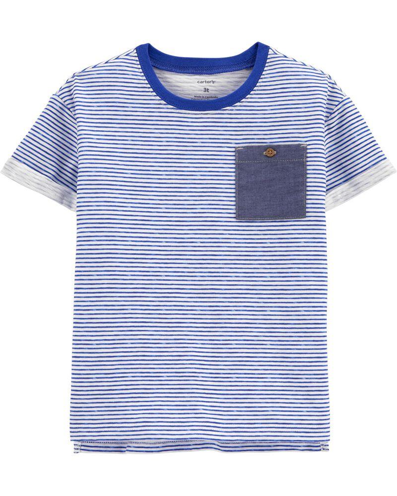 Striped Pocket Slub Jersey Tee, , hi-res