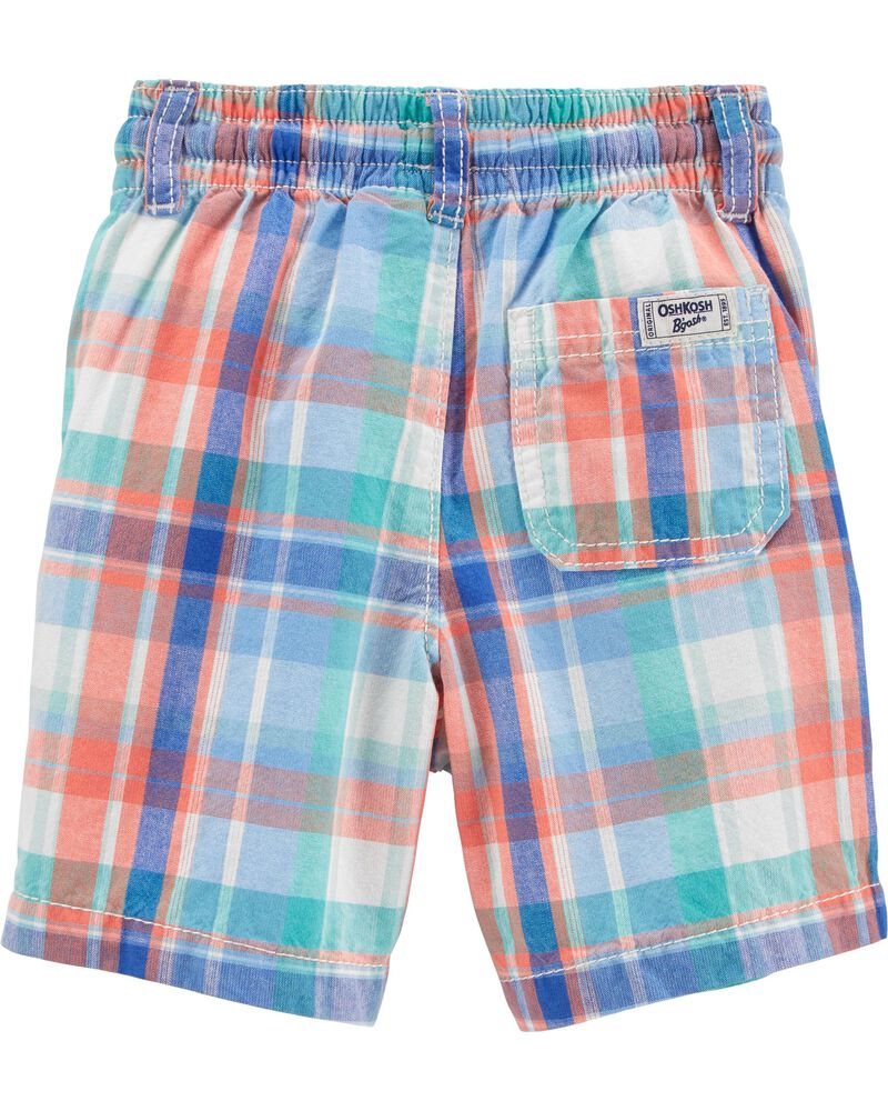Plaid Pull-On Shorts, , hi-res