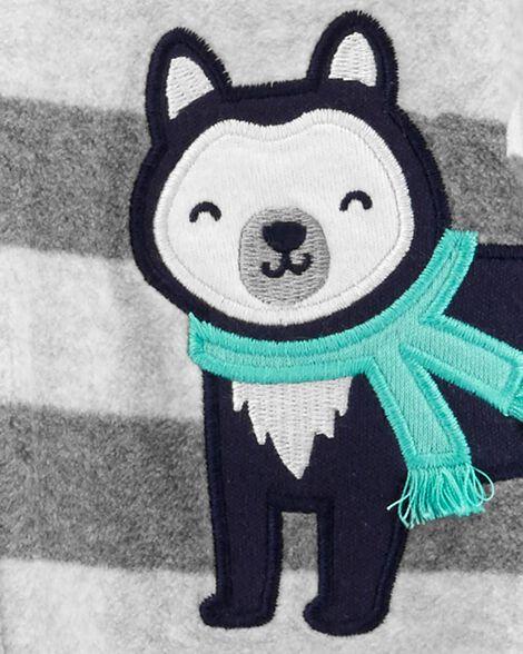 Grenouillère pour dormir et jouer avec glissière motif husky