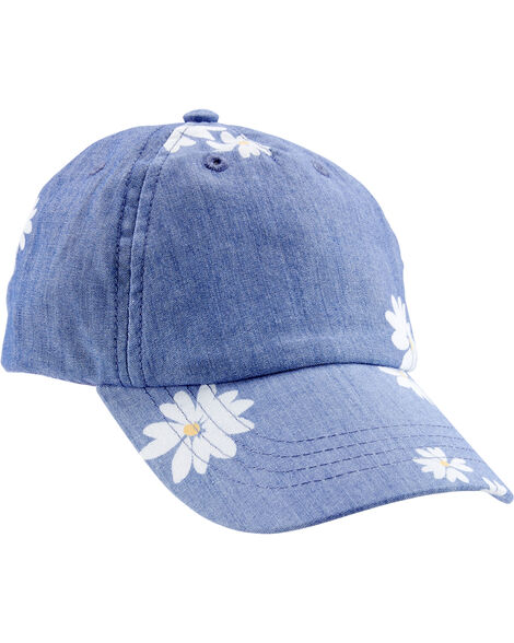 Chambray Daisy Baseball Hat