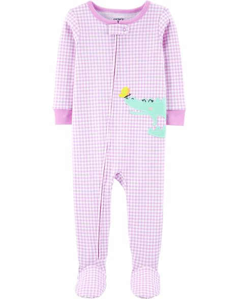 1-Piece Gingham Alligator Snug Fit Cotton Footie PJs