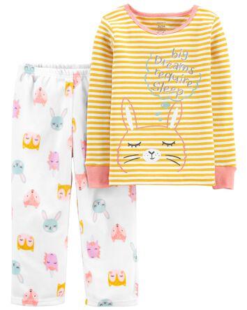 Pyjama 2 pièces en coton ajusté mot...