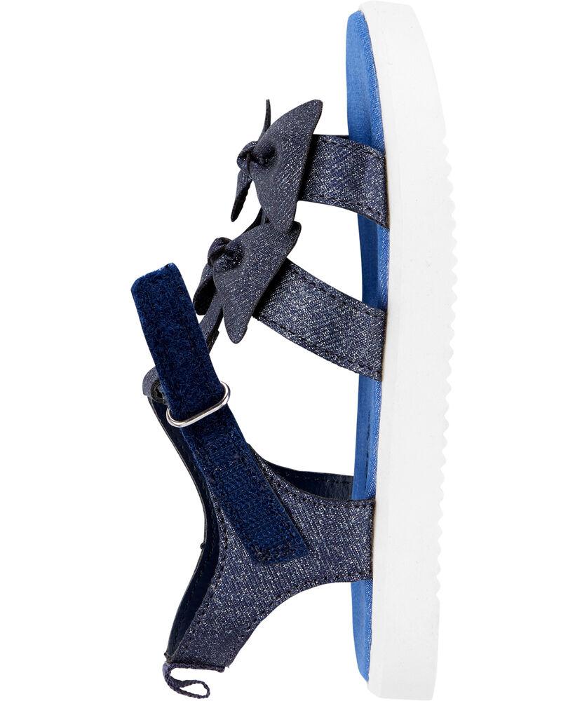 Sandales à talon plateforme en chambray , , hi-res